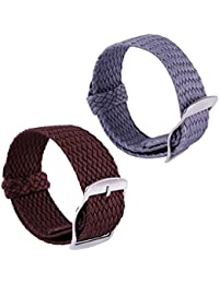 2pcs Nylon Watch Strap Universal Woven Replacement Perlon Watch Band Men Women 14mm 16mm 18mm 20mm
