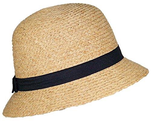 Victoria Womens Natural Raffia Straw Cloche Hat W/Solid Color Band (One Size) - Black