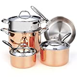 Cooks Standard 8-Piece Multi-Ply Clad Copper Cookware Set, Stainless Steel