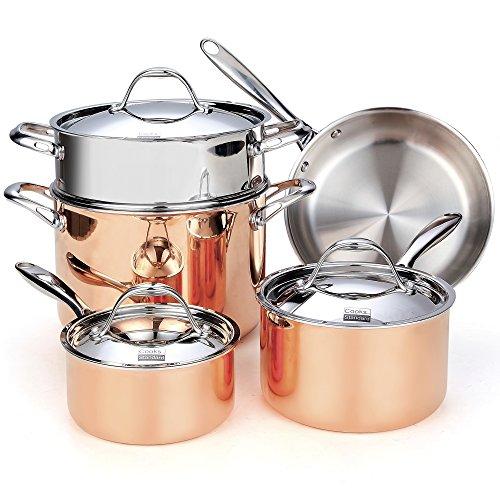 Cookware Set Copper 8 Piece Multi-Ply Clad Copper Pots Pans