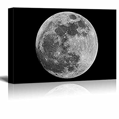 Created Just For You, Gorgeous Craft, Full Moon Against Black Universe Space Wall Decor
