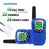 Image of Baofeng T-3 Handheld Walkie Talkies For Kids & Adults, UHF 462.5625 - 467.7250MHz FRS/GMRS Two-Way Radio Transceiver For Children & Youth, 2 Waterproof Cases Included, 1 Pair (2 Pcs) (Blue)
