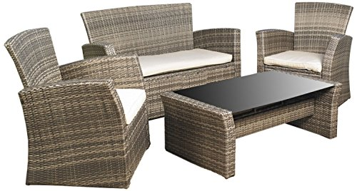 Mission Hills Redondo 4-Piece Sunbrella Seating Set Outdoor Garden Patio Cushioned Seat Wicker Sofa Furniture (Sunbrella Patio Set)