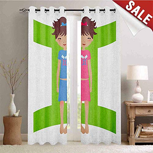 Hengshu Zodiac Gemini Customized Curtains Green Sign Background with Twin Girl Cartoon Characters for Teens and Kids Window Curtain Drape W108 x L108 Inch Multicolor