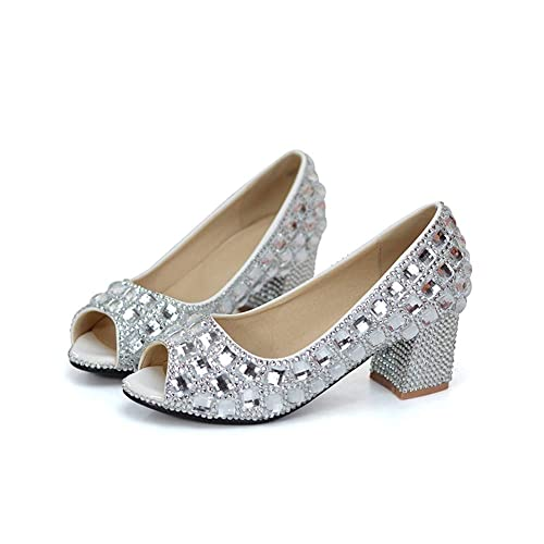 d7e148905639eb Image Unavailable. Image not available for. Color  Peep Toe Wedding Shoes  Silver Rhinestone Sandals Open Toe Chunky Heel ...