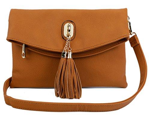- Big Handbag Shop Womens Trendy Multiple Pockets Vegan Leather Flap Over Soft Evening Clutch Shoulder Bag (Medium Tan - Tassel)
