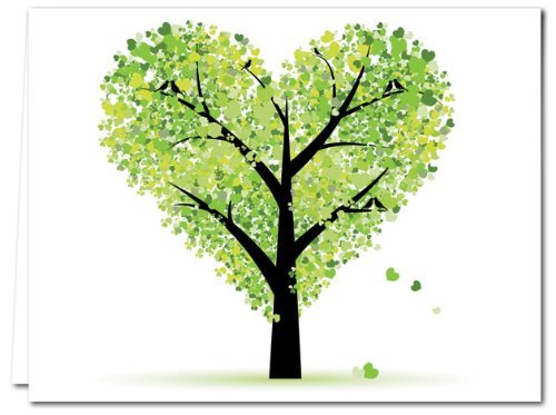 72 Note Cards - Tree of Love - Blank Cards - Green Envelopes Included (Card General Blank)