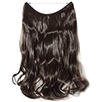 "s-noilite 20""/24"" Long Curly Secret Wire Flip On No Clip Hair Extensions Hidden String Synthetic Hairpieces No Clip Hair Extensions Adjustable Fish Line For Woman Girls Black Brown Blonde"