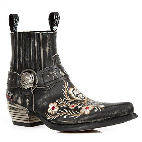 New Rock Boots M.wst046-c2 Urban Biker Hardrock Herren Stiefelette Schwarz