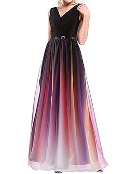 LaoZan Vestidos de Fiesta para Bodas Colores del Atardecer V cuello Elegante y Encantador - L