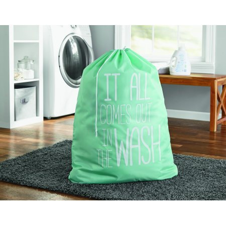 Mainstay Printed Polyester Laundry Bag, Classic Mint 2 Pack