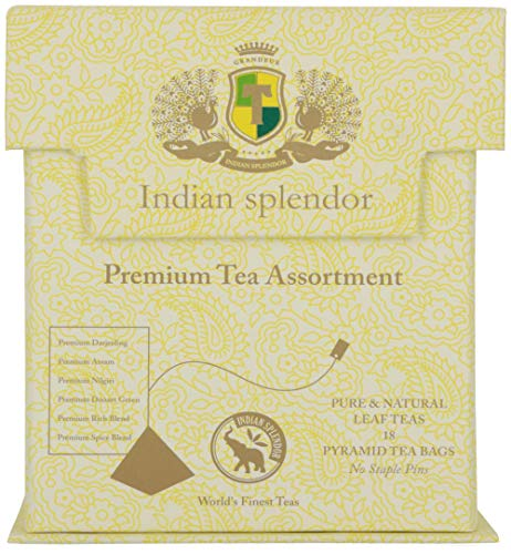 INDIAN SPLENDOR Premium Tea Assortment - A Selection of six teas, Packed in Pyramid Tea Bags, in a Sampler Gift Pack.