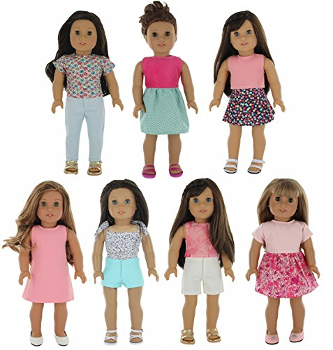 PZAS Toys American Girl Doll Clothes Wardrobe Makeover- 7 Outfits, Fits 18