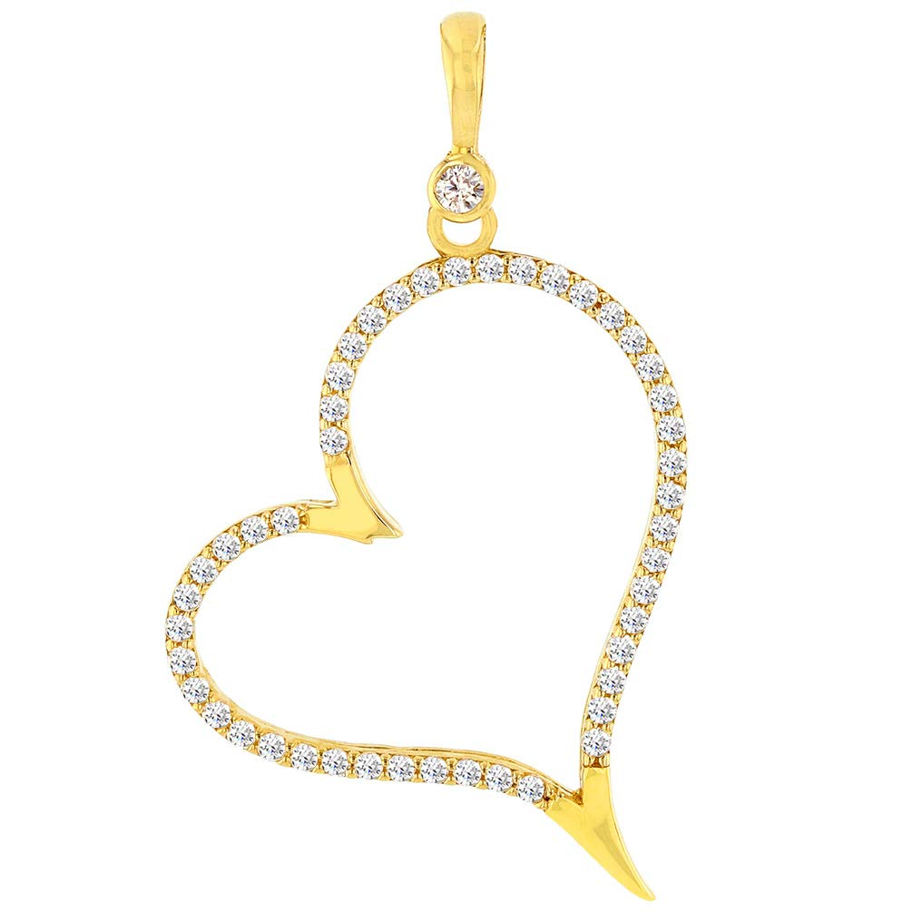 14k Yellow Gold CZ Fancy Dangling Large Heart Pendant