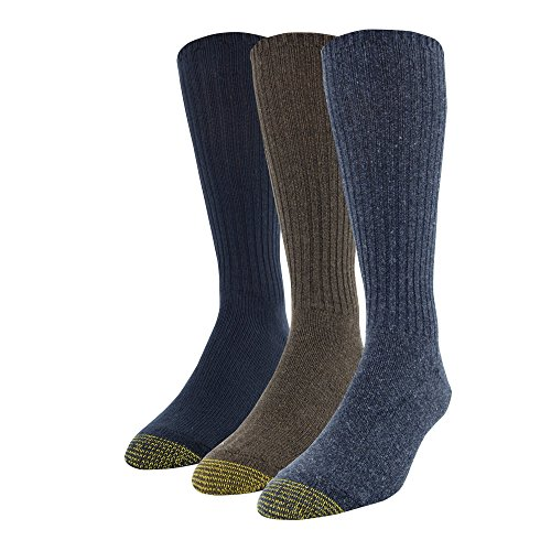 Gold Toe Men's Cotton Fluffies Casual Sock, 3 Pairs, Denim Brown Heather/Midnight, Shoe Size: ()
