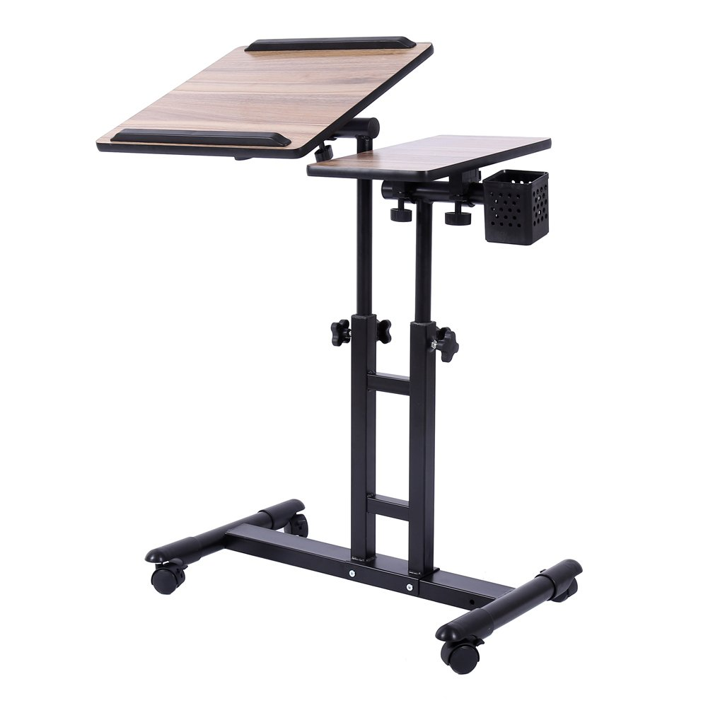 Adjustable Height Rolling Laptop Desk Table Cart,Computer Desk,Over Sofa  Bed For Writing, Reading ,Tattooing Work And More From Redscorpion White