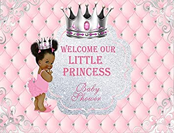 Little Princess Pink Afro Puff Baby Shower Personalized Birthday Edible Frosting Image 1 4 Sheet