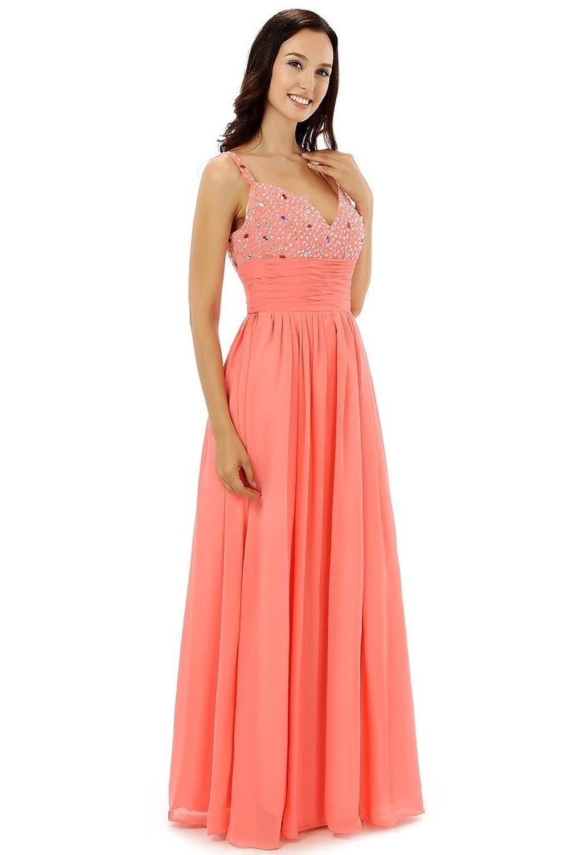 Ebelz Women's Pink Sequine Long Pegeant Spaghetti Laces Evening Prom Dress
