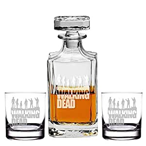 Abby Smith, Walking Dead Engraved Decanter and Rocks Glasses, Set of 3
