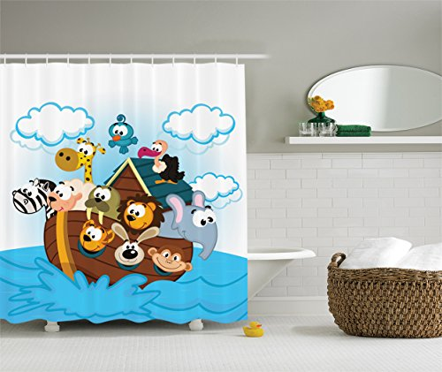 Noah's Ark Decor Shower Curtain by Ambesonne, Ark with Cute