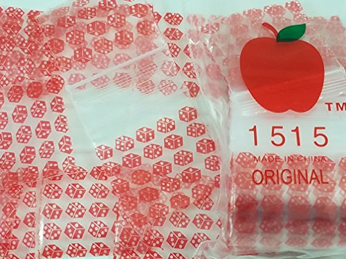 (1515 Red Dice 2.5 mil Apple Bag Mini Ziplock Reclosable 100 Baggies Clear Color Colored 100 Bags 1515 1.5