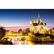 Notre Dame Cathedral at Dusk Paris France Photo Art Print Poster 18x12 inch