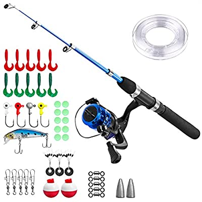 Kids Fishing Pole,Light and Portable Telescopic Fishing Rod and Reel Combos for Youth Fishing by PLUSINNO by PLUSINNO