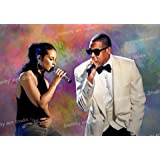 "Alicia Keys & Jay-Z POSTER PHOTO ORG Mixed Media Oil Canvas Painting with Gallery Wrap Style Framing 24X16X1.5"" by Celebrity Art Studio"