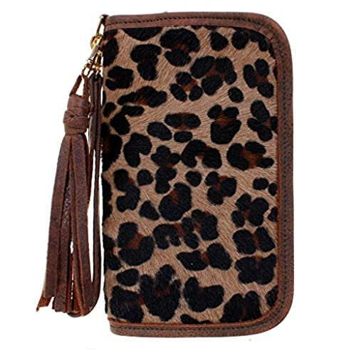 Double J Saddlery Jaguar Print Hair Leather Clutch Organizer