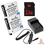 Two Halcyon 1200 mAH Lithium Ion Replacement Battery and Charger Kit + 32GB SDHC Class 10 Memory Card for Canon PowerShot A3100 IS 12.1 MP Digital Camera and Canon NB-8L