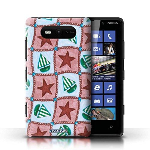 Etui / Coque pour Nokia Lumia 820 / Rouge/Vert conception / Collection de Bateaux étoiles