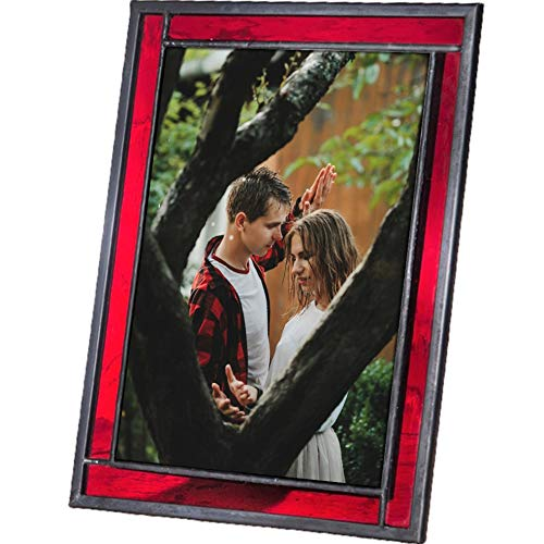 J Devlin Colored Easel Back Series - Stained Glass 5x7 Picture Frame Displays Horizontally or Vertically (Red) (Christmas Picture Frames 5x7)