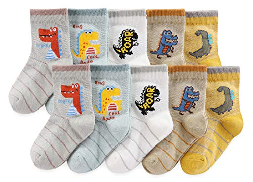 (CHUNG Boys 5/10 Pack Cotton Low Cut Ankle Socks Dinosaur Print 2-9Y Thin Light Weight Back School,8-10Y, Stripe Dino)