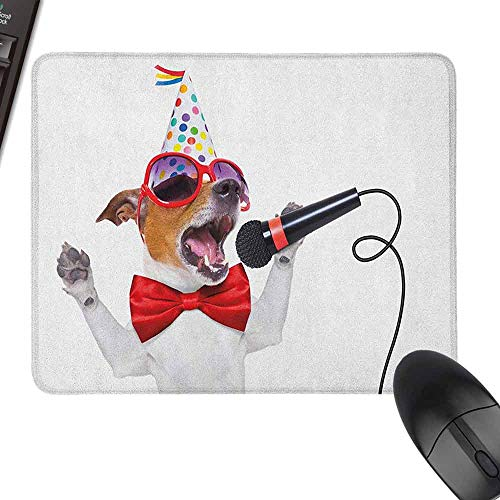 Small Mouse Pad Popstar Party Jack Russel Dog with Sunglasses Party Hat and Bowtie Singing Birthday Song for Office, Gaming, Learning,9.8