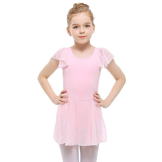 35ecfefac Amazon.com  STELLE Girls  Ruffle Short Sleeve Tutu Skirted Ballet ...