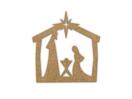 Belén de Navidad Cartel de madera, MDF, listo para decorar ...