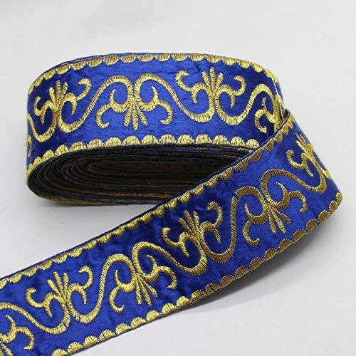 Laliva Gold Lace Appliqued Metallic Flower Embroidery Vintage Braid Lace Iron On Band Trims 6 Yds/Lot Gold and Silver 5cm - (Color: Royal Blue)