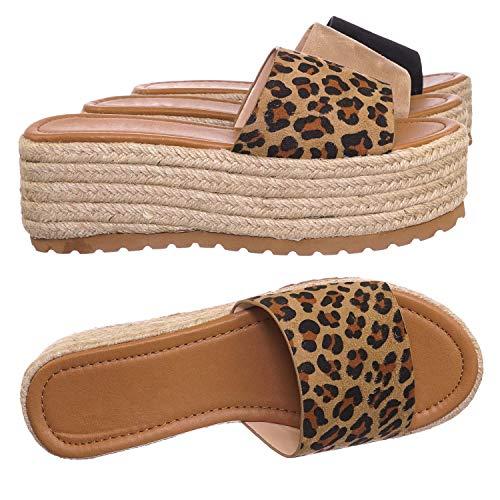 Aquapillar Espadrille Flatfor Slides - Womnes Jute Rope Braided Platform Flat Sandal Leopard - Platform Braided