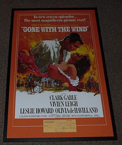 - Clark Gable 27x41 Signed Framed 1950 Check & Gone With the Wind Poster Display