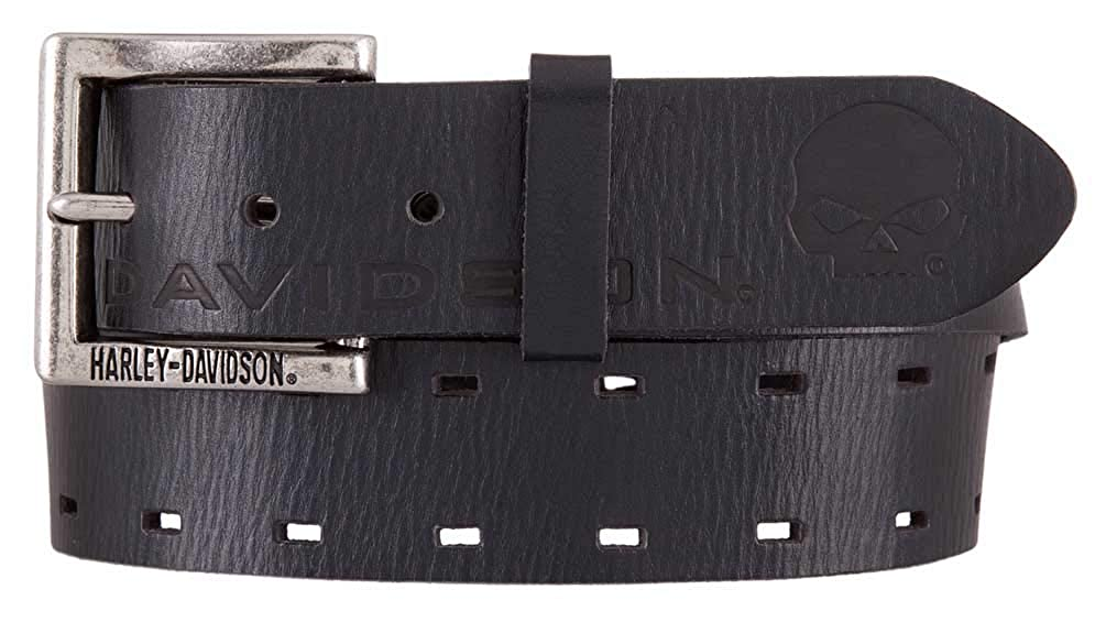 Black HDMBT11545 Harley-Davidson Mens Hellbender Genuine Leather Belt