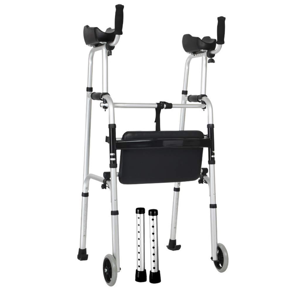 XXHDEE Disabled Four-Legged Crutches Folding Walker Walker Armrest Walker with Seat Elderly Walker Walking aids by XXHDEE
