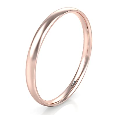 61291f4097d049 Amazon.com: 10K White/Yellow/Rose Gold 2MM Plain Dome Wedding Band ...