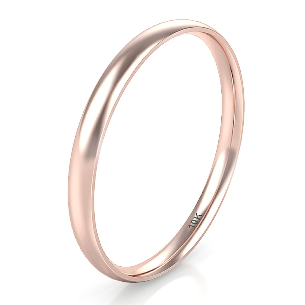 10K White/Yellow/Rose Gold 2MM Round Dome Wedding Band Ring
