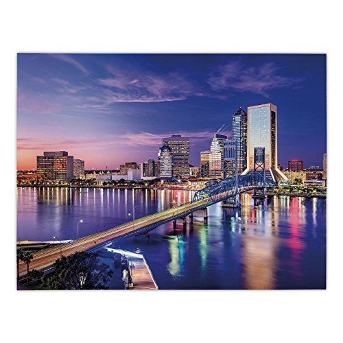 Polyester Rectangular Tablecloth,United States,Jacksonville Florida Skyline Vibrant Night St. Johns River Scenic,Royal Blue Light Pink,Dining Room Kitchen Picnic Table Cloth Cover,for Outdoor Indoor ()