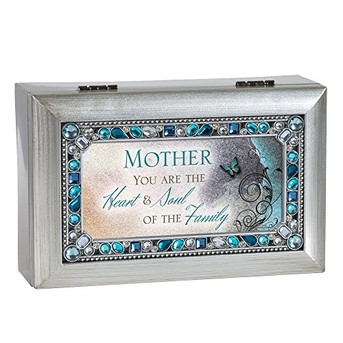 Music Box Mom - Cottage Garden Mother You are Jeweled Silver Finish Jewelry Music Box - Plays Tune Wind Beneath My Wings