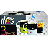 Set of 3 Magic Heat Sensitive Coffee Mugs, Color Changing Heat Cups, 11 oz each, By Chuzy Chef