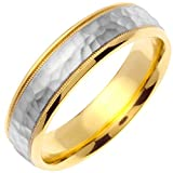 14K Two Tone Gold Center Stripe Men's Hammered Finish Comfort Fit Wedding Band (6mm)
