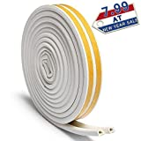 3 m weatherstripping sealant - Rubber Seal Weather Strip Foam Tape – J-DEAL D-Shaped EPDM Foam Seal, Door Window Anti-Collision Self-Adhesive Rubber, High Strength Tape System, Soundproofing Draft Stopper, 2 Rolls per Pack