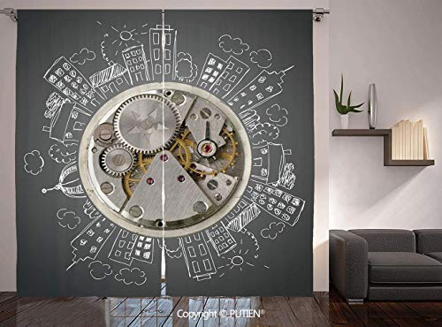 Thermal Insulated Blackout Window Curtain [ Clock Decor,An Alarm Clock Print with Buildings and Clouds Around It Checking the Time,Beige and White ] for Living Room Bedroom Dorm Room Classroom Kitchen ()