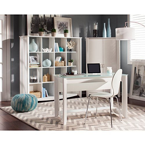 Aero Writing Desk with 16 Cube Bookcase and Tall Storage Cabinet by Bush Furniture